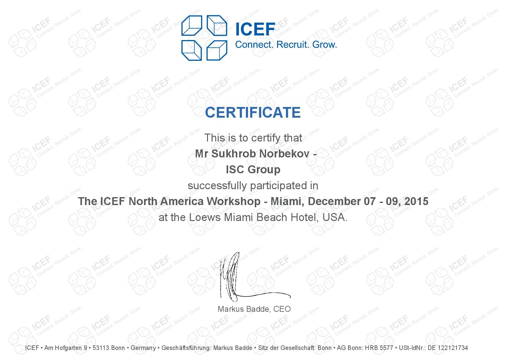 Сертификат, полученный в Майами, США, 2015