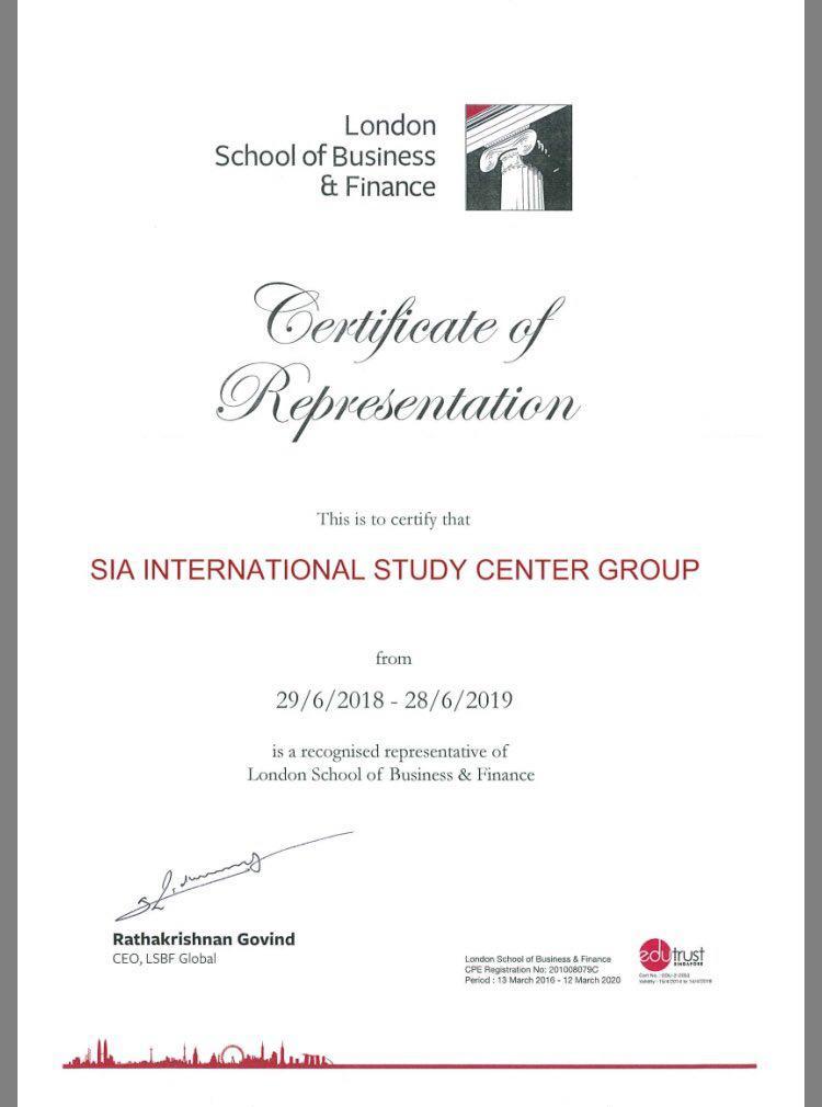 Сертификат о представительстве London School of Buiseness and Finance Singapore